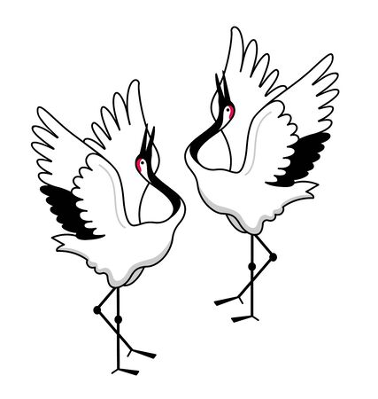 Two red-crowned cranes dancing. Japanese national birds. Cartoon vector illustration.