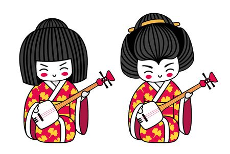 Geisha with shamisen. Kawaii japanese cartoon character. Little girl with musical instrument. Vector illustration. 向量圖像