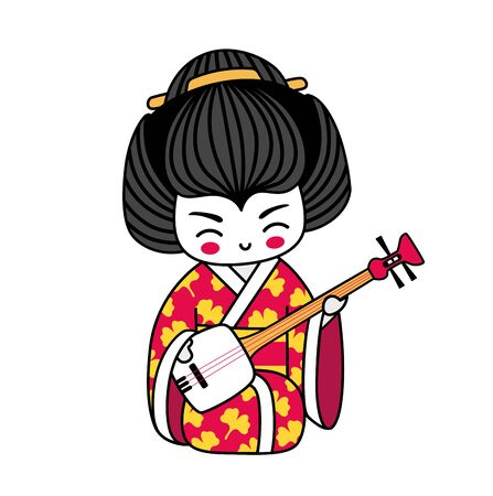 Geisha with shamisen. Kawaii japanese cartoon character. Girl with musical instrument, wearing red kimono. Vector illustration. Ilustração