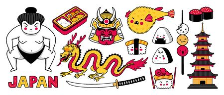Sumo wrestler, samurai mask, fugu fish, dragon and sushi. Big set of japanese symbols for stickers, patches, badges, pins, prints. Kawaii cartoon characters. Vector illustration.