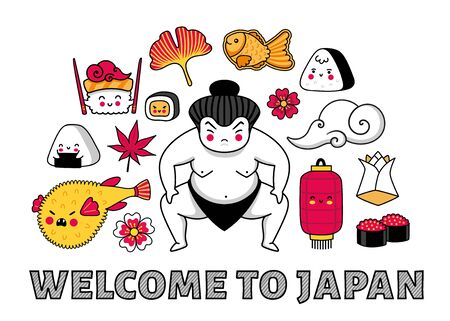 Travel to Japan. Concept for t-shirt, print, poster, wall art, postcard, banner. Sumo wrestler, puffer fish, tayaki, sushi, taiyaki fish. Cartoon vector illustrations. Vettoriali