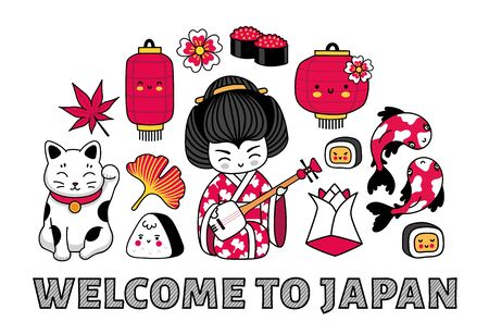 Welcome to Japan banner. Kawaii geisha with shamisen, koi carps, maneki-neko. Concept for t-shirt, print, poster, wall art, postcard. Cartoon vector illustrations.