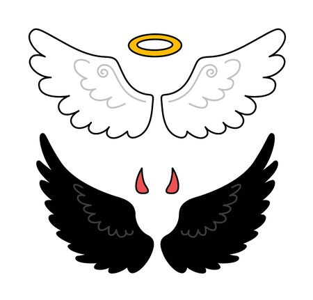 Black and white wings. nimbus and horns. Angel and demon. Vector isolated illustration.