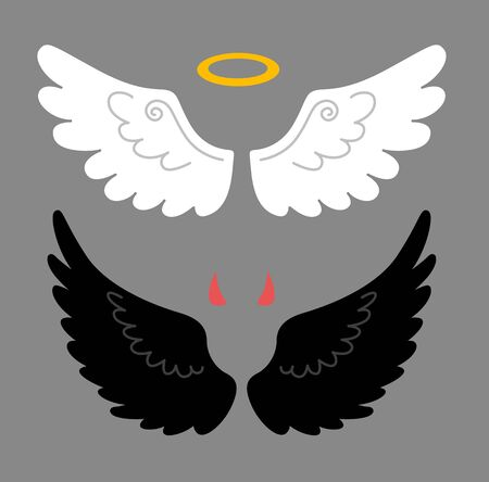 Cartoon angel and devil wings, horns and halo, isolated on white background. Good and bad. Vector flat illustration.