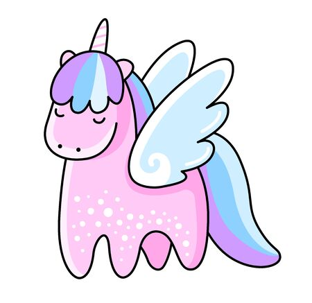 Little cute unicorn with wings. Kawaii pink pegasus. Vector illustration isolated on white background.