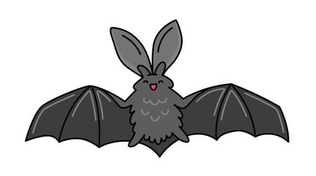 Bat with open wings. Funny cartoon character. Vector illustration. Ilustração