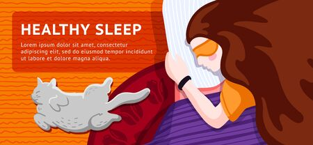 Healthy sleep banner concept. Woman character sleeping in bed, using sleep tracker, with white cat lying on the floor near by. Top view. Vector flat cartoon illustration.