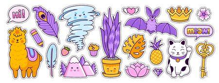 Funny bat, alpaca, tornado, maneki-neko, golden crown and key. Doodle cartoon style. Vector illustration.