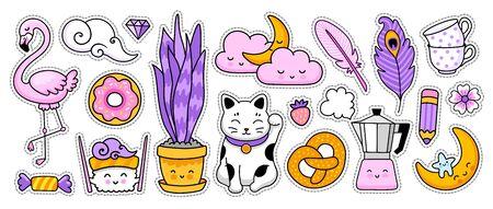 Maneki-neko, sushi, flamingo, houseplant, geyser coffee maker. Doodle cartoon character. Vector illustration.