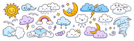 Set of cute weather forecast characters with funny faces. Clouds, sun, rainbow, tornado, rain and wind. Vector illustrations. Ilustração