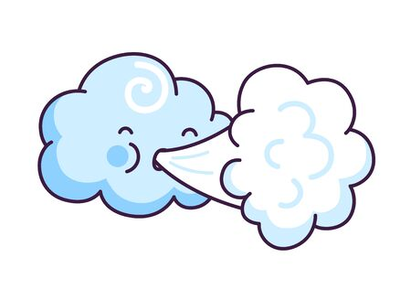 Cute cloud blowing wind. Cartoon character. Vector illustration.