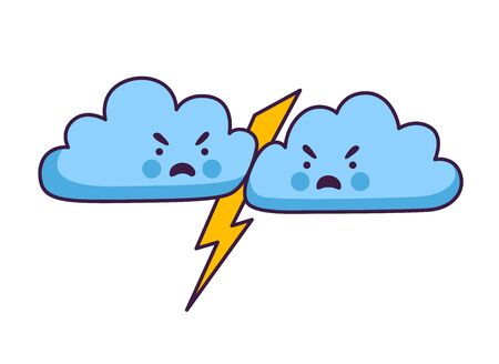 Thunder clouds are fighting. Thunder, lightning, storm. Cute cartoon character. Vector illustration.  イラスト・ベクター素材