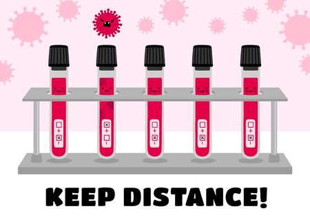 Keep distance banner. Coronavirus, covid-19. Positive and negative tests. Blood samples in glass tubes. Self-isolation, quarantine, health care concept. Vector flat illustration.