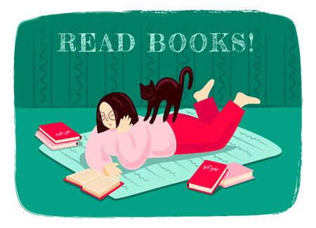 Girl reading a book, lying on the floor, surrounded by books. Woman reads literature with cat on her back. Modern hand drawn illustration, print, banner for bookstore, bookshop, book fair. Ilustração