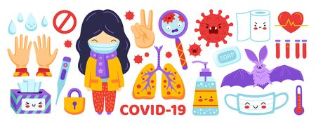 Coronavirus flat sticker set. Covid-19 elements collection. Girl in medical mask, sanitizer, lungs, thermometer, napkins, magnifier, toilet paper. Cartoon vector illustration. Ilustração