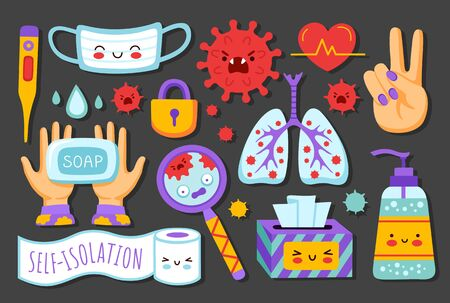 Coronavirus pandemic, covid-19 prevention. Medical mask, sanitizer, lungs, thermometer, napkins, magnifier, toilet paper. Set of cartoon stickers. Flat vector illustrations for children and kids.