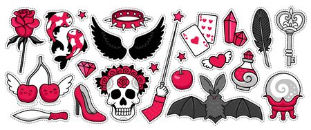 Set of black magic stickers, pins, patches, badges. Bat, skull, divination, crystal ball, red rose and dark wings. Vector cartoon stickers.