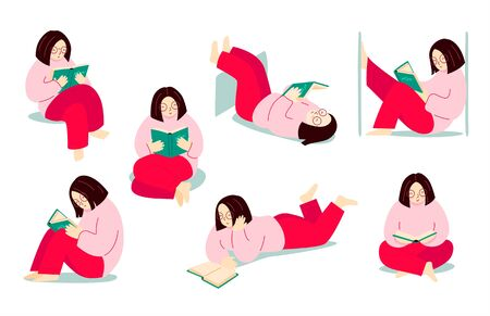 Girl reading a book, while standing, sitting, lying. Woman with educational literature, novel in various poses and situations. Modern flat illustration. Ilustração