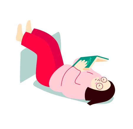 Girl is reading a book while lying on her back. Hand drawn vector flat illustration.