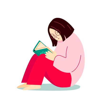 Girl reading a book sitting on the floor. Cartoon character. Modern flat illustration.