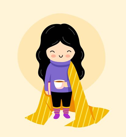 Cute little girl with book and cup of tea, staying at home during quarantine. Kawaii cartoon character. Vector flat illustration. Ilustração