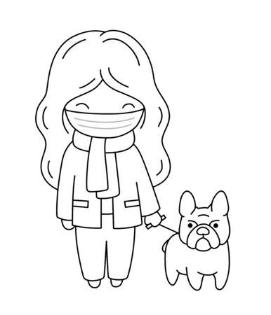 Girl in a medical mask walks with her bulldog during quarantine. Cartoon outline vector illustration. Illustration