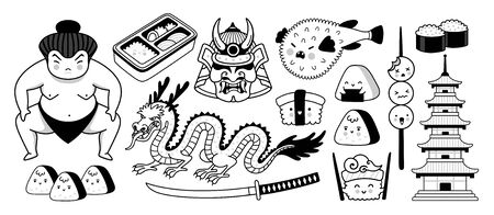 Japanese sumo wrestler, samurai mask, fugu fish, dragon, pagoda and sushi. Traditional symbols. Graphic outline illustrations for coloring book.