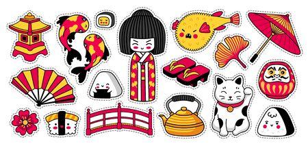 Kawaii japanese geisha girl, maneki-neko, koi carps, fugu fish. Set of cartoon stickers, patches, badges, pins. Doodle style. Cute cartoon vector illustration.