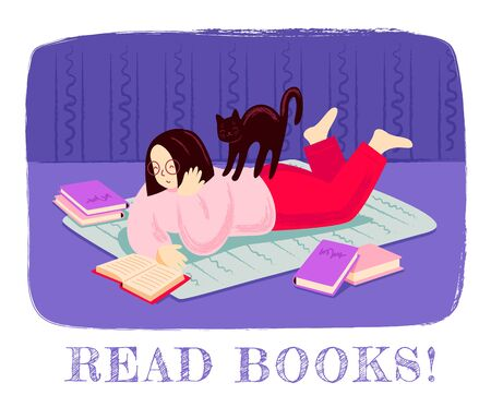 Girl reading a book, lying on the floor, surrounded by books, with cat on her back. Modern hand drawn illustration, print, banner, poster, postcard, card for bookstore, bookshop, book fair.