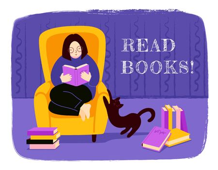 Girl reading literature, sitting in a cozy yellow armchair, surrounded by piles of books. Cat sharpens claws and stretches. Modern hand drawn illustration for bookstore, bookshop, book fair.