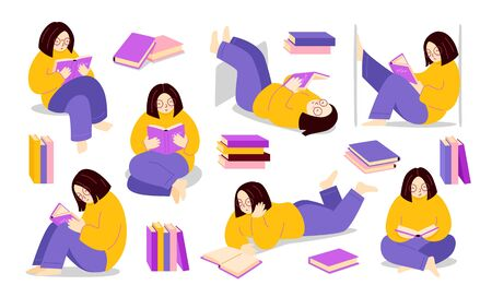 Girl reading a book in different poses and various stack of books. Woman standing, sitting, lying with educational literature, novel. Set of modern colorful flat illustration. Ilustração