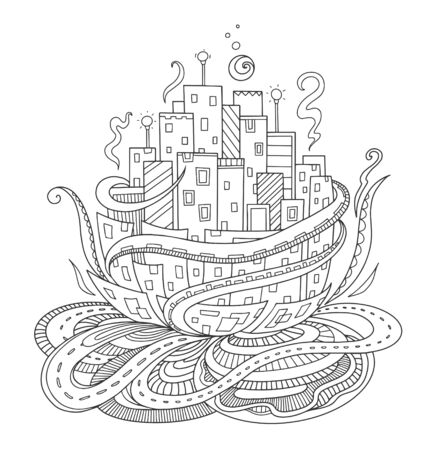 Fantasy city. Fairytale concept for adult coloring book, print, postcard. Vector outline illustration with doodle and  elements. Hand-drawn, stylized doodle composition.