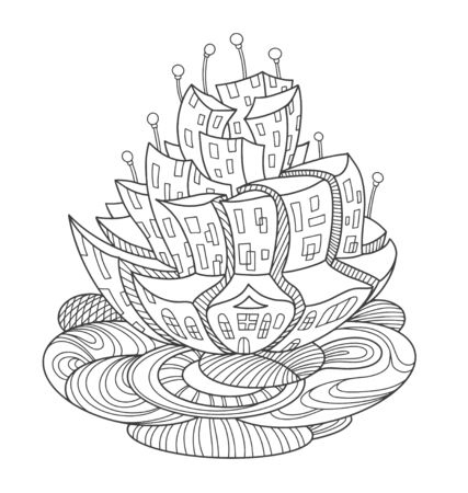 Flower-shaped fantasy city. Fairytale concept for page of coloring book, print, postcard. Vector outline illustration with doodle and  elements. Doodle composition.
