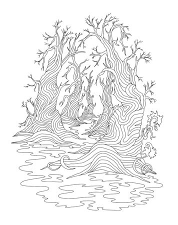 Fantastic gothic forest. Hand-drawn concept for adult coloring book, page, postcard, print. Vector outline illustration. Stylized doodle composition.