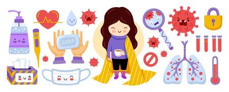 Coronavirus covid-19 elememts. Mask, antiseptic, thermometer, quarantine, self-isolation. Cartoon info stickers for kids and children. Vector flat illustration.  イラスト・ベクター素材