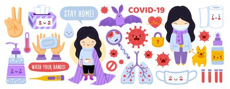 Big set of coronavirus prevention elements. Covid-19 stickers collection for children, kids. Girl with dog, sanitizer, masks, soap, lockdown. Cartoon characters. Flat vector illustration.