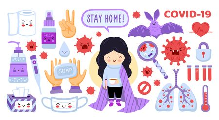Coronavirus protection elements set. Girl staying home, mask, sanitizer, antiseptic. Symptoms and prevention stickers collection. Covid-19 flat vector illustration.