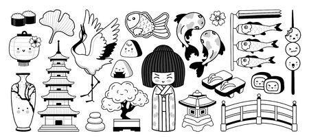 Japanese traditional garden, pagoda, geisha, bonsai, koi carps, tayaki fish. National symbols of Japan. Cartoon characters. Doodle outline vector illustration for coloring book, tattoo, print.