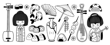 Japanese geisha with musical instruments, fan, umbrella, sushi, onigiri, koi carp and other traditional symbols of Japan. Graphic doodle outline illustrations for coloring book.