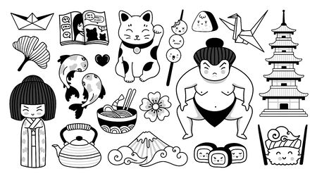 Japanese pagoda, geisha, sumo wrestler, manga and fuji mountain. Traditional national symbols of Japan.  Cartoon character. Doodle outline vector illustrations for coloring book, tattoo, print.  イラスト・ベクター素材