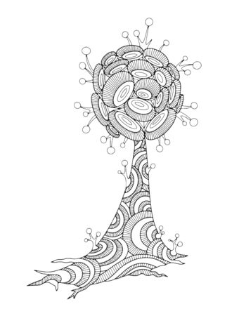 Fantastic alien tree, plant, flower. Concept for adult coloring book with doodle and  elements. Hand-drawn, stylized vector illustration.