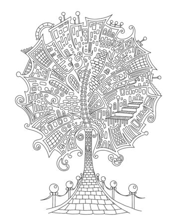 Fairytale city, fantastic tree, fantasy castle. Vector outline illustration for adult coloring book with doodle and  elements. Hand-drawn, stylized composition. Illustration