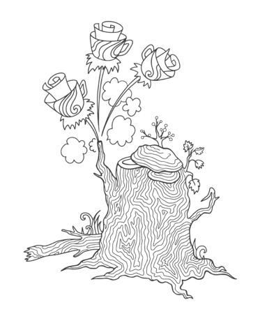 Fairy tree stump with flowers. Fantasy plant for adult coloring book. Vector outline illustration with doodle and  elements.