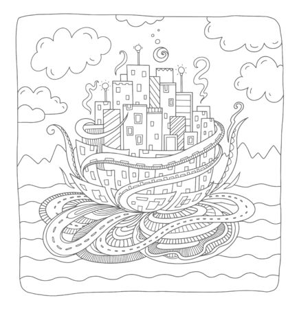 Fairytale town. Fantasy city concept for adult coloring book. Vector outline illustration with doodle and  elements. Hand-drawn, stylized doodle composition.