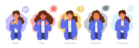 Denial, anger, bargaining, depression, acceptance. Woman expressing different negative emotions. 5 stages of accepting the inevitable. Sad, furious, irritated girl. Vector hand-drawn characters. Vectores