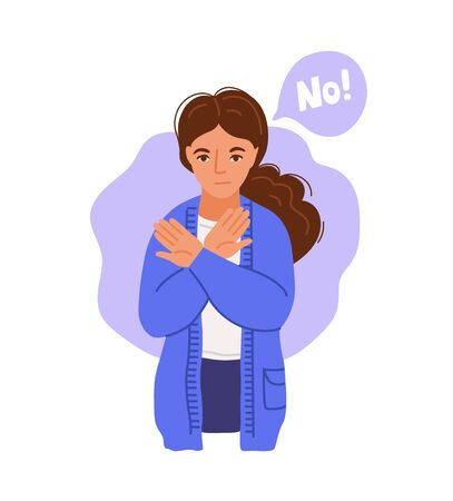 Determined woman says no, in the stage of denial. Girl expresses dissatisfaction and disagreement. Hand-drawn vector character.