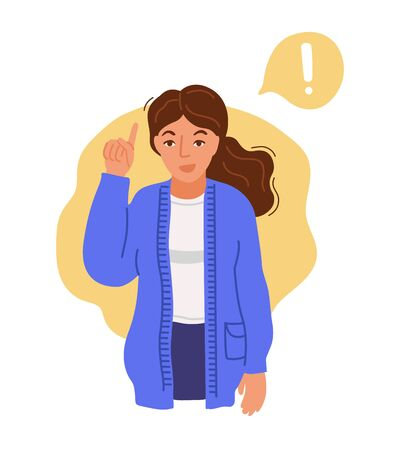 Woman have an idea. Girl pointing up, found a solution to the problem. Isolated hand-drawn character. Vector illustration. Imagens - 148276574