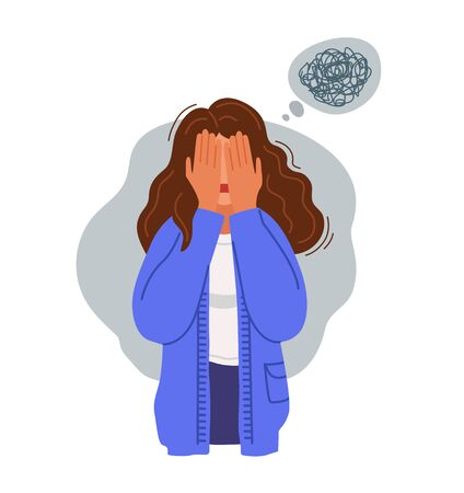 Sad depressed upset woman covering her face with hands. Unhappy girl with bewildered thoughts and messy hair. Stressed person. Vector hand-drawn character.