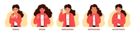 Denial, anger, bargaining, depression, acceptance. Woman expressing different negative emotions. 5 stages of accepting the inevitable. Sad, furious, irritated girl. Vector hand-drawn characters. Illustration