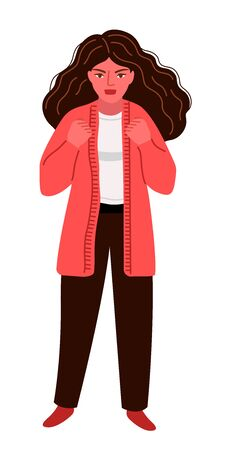 Furious woman expressing anger, aggression, discontent, irritation, with red face and clenched fists. Portrait of a stressful woman with disheveled hair. Vector illustration.